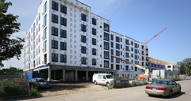 Big-D Construction's Minneapolis office claims Golden Villas LLC is in breach of their contract after Bid-D was ousted as the general contractor on this 172-unit apartment project at 9130-9220 Olson Memorial Parkway in Golden Valley. (File photo: Bill Klotz)