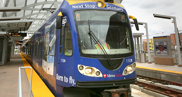 The Southwest light rail route from Minneapolis to Eden Prairie would be an extension of the Green Line, which now ends at Target Field Station in downtown Minneapolis, pictured. (File photo: Bill Klotz)