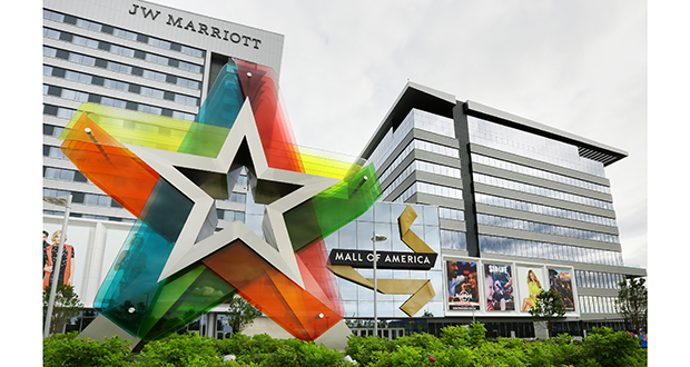 The addition on the north side of the Mall of America includes a JW Marriott hotel on the left and an office building on the right. (Staff photo: Bill Klotz)