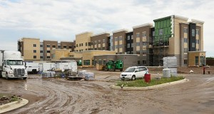 This 116-room Residence Inn by Marriott, 205 Radio Dr. in Woodbury, is scheduled to open in September. The hotel is part of the CityPlace development at Interstate 94 and Radio Drive in Woodbury.  (Staff photo: Bill Klotz )