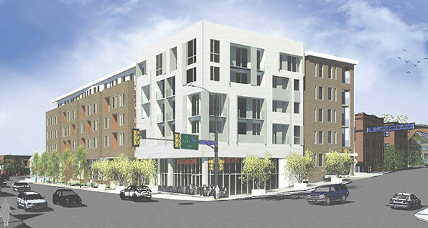 Master Properties has proposed a six-story, mixed-use project at the southwest corner of West Franklin and South Lyndale avenues in Minneapolis that includes 113 apartments – eight of which would be walk-up units that face Lyndale. (Submitted rendering: City of Minneapolis)