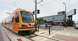 The Southwest light rail transit line has secured $52.75 million from the Counties Transit Improvement Board and the Hennepin County Regional Railroad Authority to help fill a $144.5 million funding gap. The 14.5-mile line between Minneapolis and Eden Prairie is an extension of the Green Line, pictured here stopping at University and Snelling avenues in St. Paul. (Staff photo: Janice Bitters)