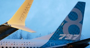 A winglet and the vertical stabilizer of the first Boeing 737 MAX airplane to roll off Boeing's assembly line Dec. 8, 2015, in Renton, Washington. (AP file photo)