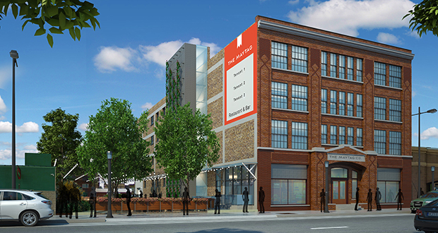 Four marketing and technology companies owned by St. Paul-based Clear Night Group are moving into the Maytag building, at 515 N. Washington Ave. in Minneapolis, because they think the location will help them retain talent. (Submitted rendering)