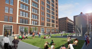 Preliminary plans for United Properties' mixed-use project on the 700 block of Washington Avenue North in Minneapolis show a new plaza between a 10-story office building and the existing Freehouse restaurant. (Submitted rendering: Hartman-Cox Architects)