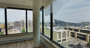 The penthouse suite on the 17th floor of Portland Tower at 516 Eighth St. S. offers a view of the nearby U.S. Bank Stadium and Wells Fargo campus in downtown Minneapolis. Both redevelopment projects were completed this summer.  (Staff photo: Bill Klotz)