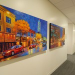 Artwork on the walls feature a local theme.