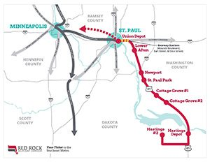The Red Rock Corridor would run between Hastings and Union Depot in St. Paul. (Submitted image: Red Rock Corridor Commission)