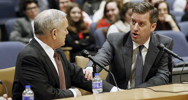 House Speaker Kurt Daudt, right, and Gov. Mark Dayton attended a forum with the media Feb. 25 before the start of the 2016 legislative session on March 8. Dayton, in a letter to Daudt, has called off efforts to hold a special session this fall. (AP file photo: Jim Mone)