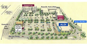 This site plan for the Twin Lakes Center shows the new Aldi store and two retail buildings now under construction at 2700 Cleveland Ave. N. in Roseville. The buildings are just south of the new Hampton Inn & Suites and Home 2 Suites, completed by a different developer. (Submitted image)