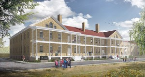 The Minnesota Historical Society is moving forward with schematic design for this new visitor center at Historic Fort Snelling. The society is seeking $34 million in state bonding for the $46.5 million project. (Submitted rendering: Leo A Daly/Minnesota Historical Society)