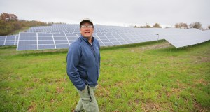 James Wagoner, construction supervisor with Innovative Power Systems, gives a tour of a new community solar garden at 450 Goodhue St. N. in Red Wing. (Staff photo: Bill Klotz)