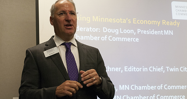 Doug Loon, president and CEO of the Minnesota Chamber of Commerce, spoke Tuesday at the organization's annual business conference. The chamber has filed a lawsuit challenging the city of Minneapolis' sick leave mandate.  (Staff photo: Matt M. Johnson)
