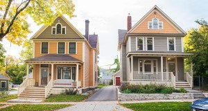 A cluster of homes along East Fourth Street in St. Paul's Dayton's Bluff neighborhood, including the ones pictured, have been rehabilitated as part of the Inspiring Communities program. (Submitted photo: Rolf Hagberg Photography)
