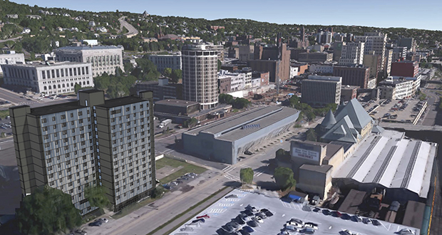 This rendering of downtown Duluth shows how the 44-year-old Gateway Tower Apartments at 600 W. Superior St. (at left) will look after a planned $18.5 million renovation. (Submitted image: LHB Corp.)