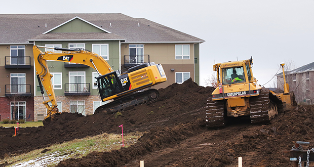 Bigos Management has broken ground on the 134-unit Parkside at Galante, at the southeast corner of 152nd Street and Galaxie Avenue in Apple Valley. It's immediately west of the 196-unit Parkside at Gabella apartments (in background) that opened in May. (Staff photo: Bill Klotz)