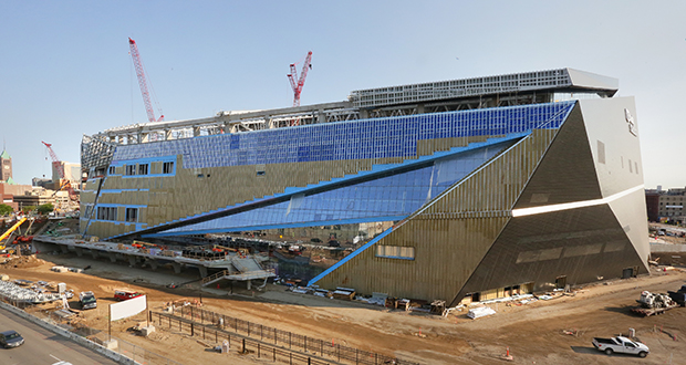 U.S. Bank Stadium is shown the day roofer Jeramie Gruber fell to his death while working on the eastern half of the stadium's north roof face. (File photo: Bill Klotz)