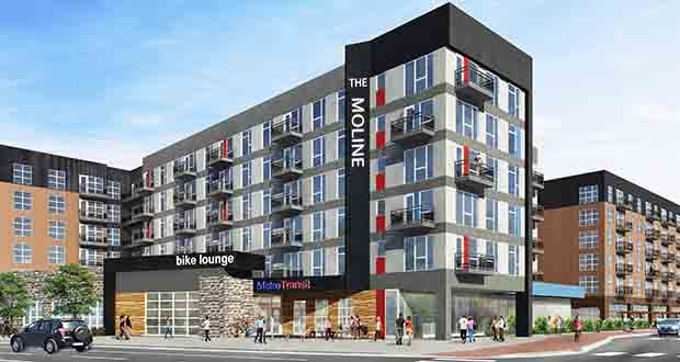The 241-unit Moline apartment building will include a bicycle and pedestrian lounge, which will be operated by Metro Transit. In 2021, the site will be served by the planned Southwest Light Rail Transit line. (Submitted rendering)