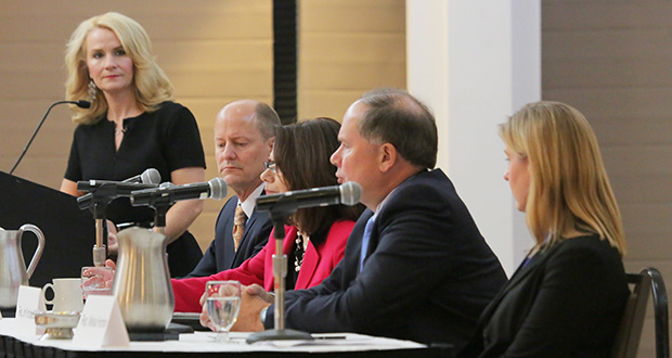 Mary LaHammer of Twin Cities PBS, left, moderated the annual Fredrikson & Byron Legislative Session Outlook on Dec. 8 in St. Paul. Representing their caucuses were, from left, Sen. Paul Gazelka, R-Nisswa; Sen. Kari Dziedzic, DFL-Minneapolis; Rep. Jim Knoblach, R-St. Cloud; and Rep. Melissa Hortman, DFL-Brooklyn Park. (Staff photo: Bill Klotz)