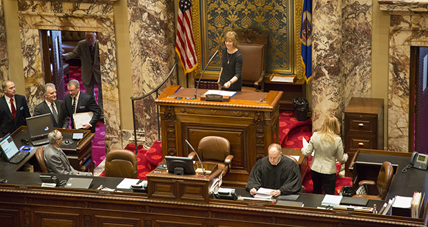 Lt. Gov. Tina Smith gavels in the start of the 2017 session Tuesday in the Minnesota Senate chamber at the newly refurbished Capitol. (Staff photo: Kevin Featherly)