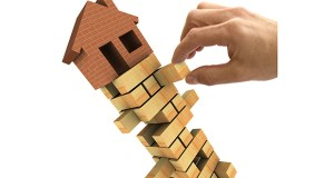 3d Illustration of the housing market recession