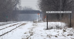 Snow falls Monday on a section of the Bass Lake Spur freight line near Wooddale Avenue in St. Louis Park. The Metropolitan Council will pay up to $27.4 million for the 6.8-mile right of way, which will become part of the Southwest Light Rail Line. (Staff photo: Bill Klotz)