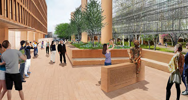 The center of the Eisenhower memorial would feature a small statue of Dwight D. Eisenhower as a boy, looking pensively into the distance. (Submitted rendering)