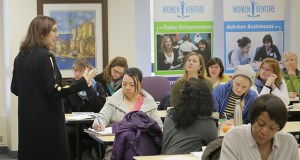 Elana Centor, a business consultant and volunteer trainer, teaches a class to women who are thinking about starting a business at the WomenVenture office in northeast Minneapolis. (Staff photo: Bill Klotz)