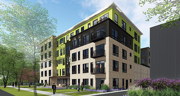Minneapolis-based Yellow Tree plans to build 74 apartments at 2201 Blaisdell Ave. in Minneapolis, a block from the Minneapolis Institute of Art. (Submitted illustration: DJR Architecture)