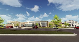 This rendering shows the design for the 26,633-square-foot addition that Bloomington-based MedCraft Healthcare Real Estate LLC is developing for the Lakewood Surgery Center (seen in right background) at 1542 Golf Course Road in Grand Rapids, Minnesota. (Submitted image: MedCraft)