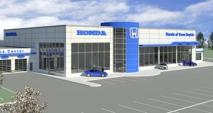 Chicago-area auto dealer Nate Sutton has chosen this design for a new Honda dealership he plans to build on the northwest quadrant of Highway 10 and Hanson Boulevard in Coon Rapids. (Submitted photo: Sutton Auto Team)