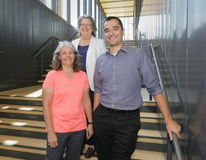 HGA's Capitol project team, shown here at the firm's offices in Minneapolis, included architect Ginny Lackovic (front); architect and senior project manager Debra Young (back), and structural engineer Andrew Atkins. (Staff photo: Bill Klotz)