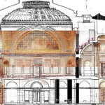 An HGA image combines a laser scan of the Senate chamber with Cass Gilbert's original drawing of the room, showing columns, decorative arches and other features aligning. (Submitted image: HGA Architects and Engineers)
