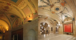 More than 4,220 LEDs were installed throughout the Capitol to brighten the interior. These images show a previously dimly lit public corridor and the impact of the new lighting. (Submitted images: HGA Architects and Engineers)