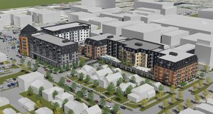 This image shows how the Sons of Norway apartment development will nearly fill a 2.17-acre site now owned by the financial services organization in the Uptown area of Minneapolis. (Submitted image: Ryan Cos.)
