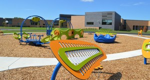 A playground at the new Pankalo Education Center, at 8568 Eagle Point Blvd. in Lake Elmo, includes distinctive musical and sensory features. The $22 million center serves 130 students in kindergarten through eighth grade. (Submitted photo: District 916)