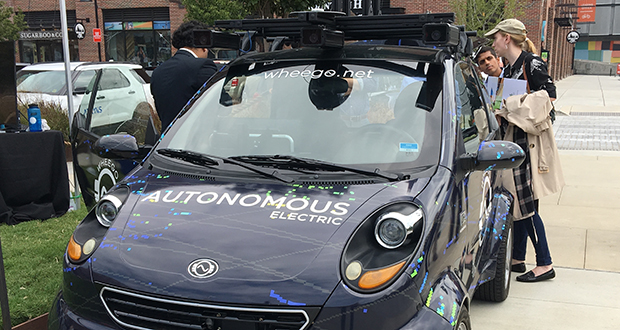 Wheego.net autonomous vehicle is displayed Sept. 14 at the city of Atlanta's Smart City Project launch. (AP Photo: Johnny Clark)