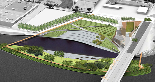 Veit & Co. was awarded the contract to reconstruct Hall's Island in northeast Minneapolis. The illustration shows what it will look like after the work is completed. Barr Engineering and Berkeley, California-based TLS Landscape Architecture (Tom Leader Studio) handled engineering and design. (Submitted illustration)