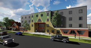 Project for Pride in Living and the Ain Dah Yung Center are getting $9.4 million in tax credit equity for this $11.3 million permanent housing project at 771 University Ave. in St. Paul, near a Green Line Light Rail Transit station. (Submitted rendering: Ain Dah Yung Center)