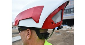 Z Flow Pro CEO Steve Perusse shows the back of the special helmet he invented and developed with a partner to deflect paint spray from painters' faces. (Photo: John Autey/Special to Finance & Commerce)