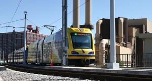 A Green Line train travels near Target Field Station (File photo: Bill Klotz)