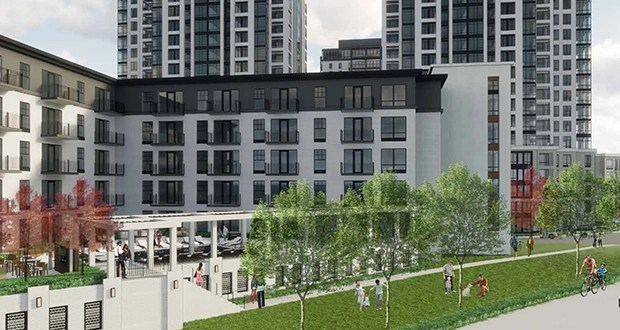St. Louis Park-based Bader Development is in the process of buying about 1 acre of Hennepin County land just north of Calhoun Towers at 3430 List Place in Minneapolis. The addition will allow Bader to build four new apartment buildings at the site, rather than three. (Submitted rendering: ESG Architects)
