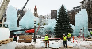 "This St. Paul Winter Carnival Ice Palace, under construction in downtown's Rice Park, is a ""modern interpretation of the palaces of the past,"" according to project architect John Culligan of Minneapolis-based Cuningham Group. (Staff photo: Bill Klotz)"