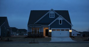 The Commerce Department said Thursday that new-home sales fell in December to a seasonally adjusted annual rate of 625,000. This photo shows a completed home Jan. 8 at the Lennar Corp. Tree Tops development in Lancaster, South Carolina. (Bloomberg photo: Travis Dove)
