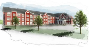 St. Paul-based Hearth Construction hopes to begin construction in June or July on this senior facility at the former Rose Hill resort, 30455 Lehigh Ave. in Lindstrom. (Submitted rendering: Kaas Wilson)