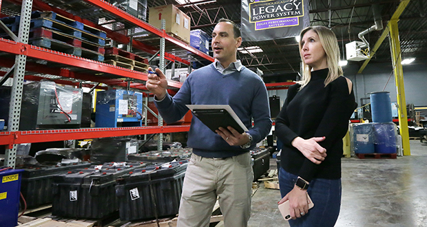 Kris and Erin Palestrini used their backgrounds in advertising to inject new energy into Minnesota Industrial Battery, a Roseville-based company previously owned by Erin's father, Gene Slattum. Minnesota Industrial Battery had its biggest year in billings in 2017. (Staff photo: Bill Klotz)