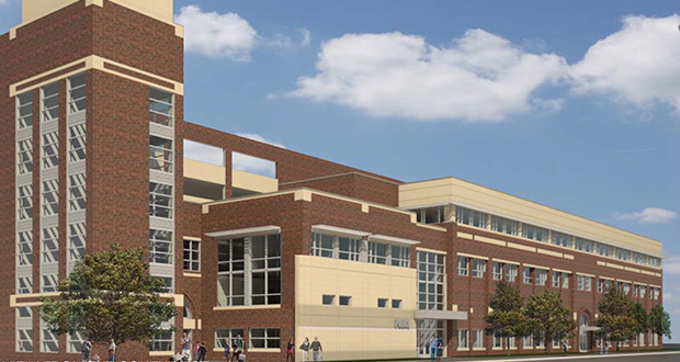The University of Minnesota's Department of Public Safety will consolidate functions in this Transportation and Safety Building following an $8.75 million renovation and expansion project. (Submitted rendering: Wold)