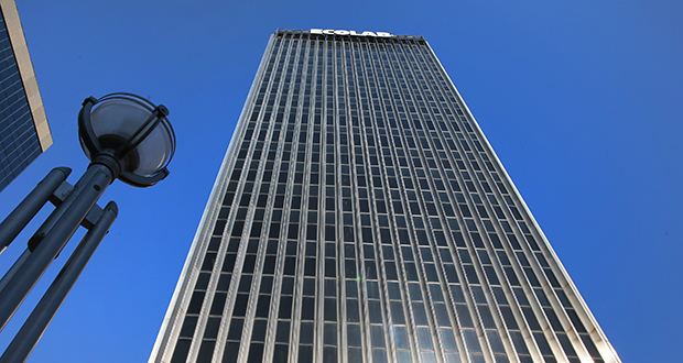 Built in 1968 as Ecolab's headquarters, the tower at 370 Wabasha St. N. in St. Paul features stainless-steel lines, terrazzo and black granite. (Staff photo: Bill Klotz)