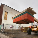 A load of lumber is delivered to the old theater. (Staff photo: Bill Klotz)