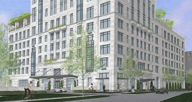 The Eleven, a 39-story condo tower planned for 1101 W. River Parkway in Minneapolis, will rise on a parking lot next to an office building constructed in the early 2000s. (Submitted illustration: Ryan Cos. US Inc.)